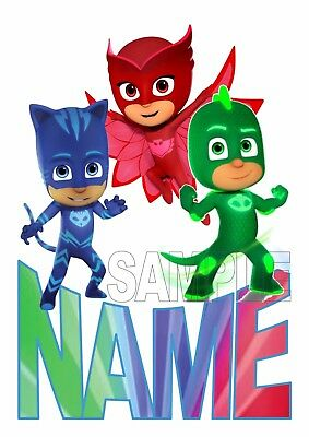 Pj Masks - Catboy Gekko Owlette Personalised  Tshirt Iron On Transfer / Sticker