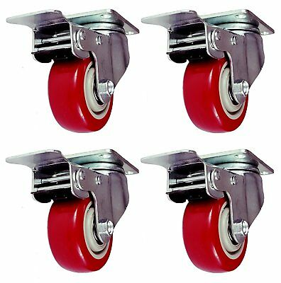 4 Pack 5 Inch Caster Wheels Swivel Plate with Break on Red Polyurethane Heavy