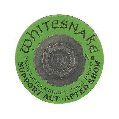 Whitesnake authentic 1987 Snake Rattle & Roll Tour backstage pass support green