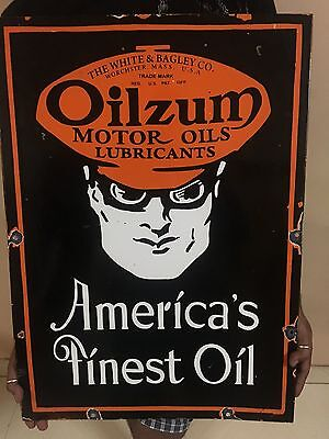 Oilzum motor oils Porcelain sign 20 X 28 Inches