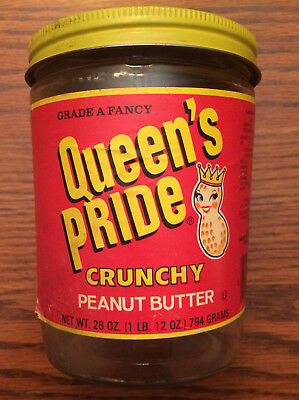 RARE Queen's Pride Crunchy Peanut Butter Jar with Label & Lid! Buffalo New York