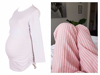 BNWT Pink/White Maternity & Nursing Pyjama Set Size M (12) winter pjs pants top.