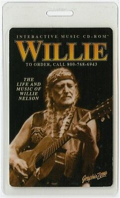 Willie Nelson authentic 1996 Laminated Backstage Pass rare Life and Music of