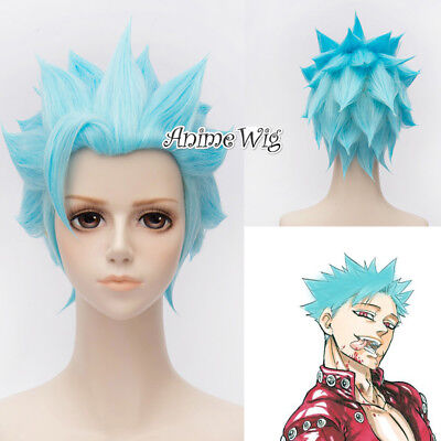 Anime Cosplay Wig Sky Blue Rick And Morty 30cm Heat Resistant Wig Hair + Cap