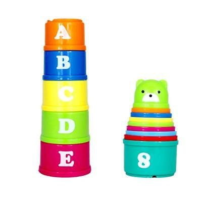 Baby Children Kids early Educational Toy Figures Letters Folding Cup Pagoda AD