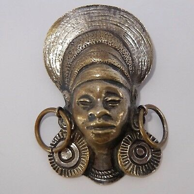Vintage French Art Deco Silver Plate Nubian Queen Pendant Pin