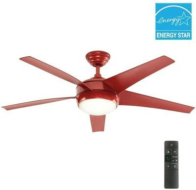 52 Inch Indoor Red Ceiling Fan with Light Kit Remote Control Antique Vintage New