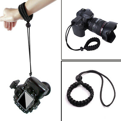 Black Braided Paracord Adjustable Strong Camera Wrist Lanyard Strap Weave Cord