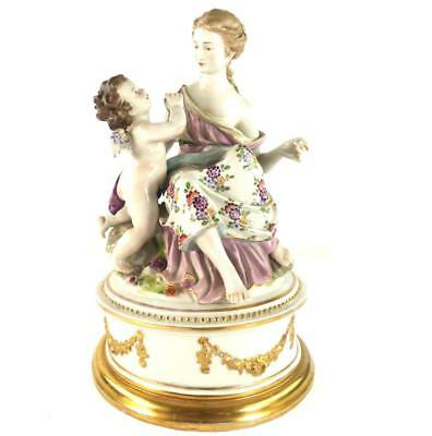 German Porcelain Figure Group Modeled As Maiden With Cherub Dresden Volkstedt