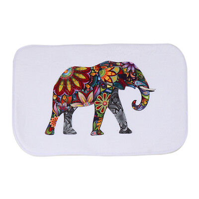 Colorful elephant Style Water-absorb Floor Bath Mat Toilet Room Coral velve A6Z7