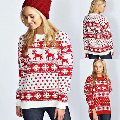 AU Women Winter Warm Christmas Jumper Sweater Snowflake Knitted Pullover Tops