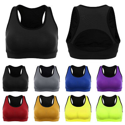 Womens Ladies Padded Sports Bra Breathable Seamless Yoga Gym Fitness Vest Top UT