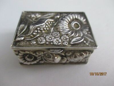 Antique Rectangular Sterling Silver Pill Box - Repousse Design And Gold Wash