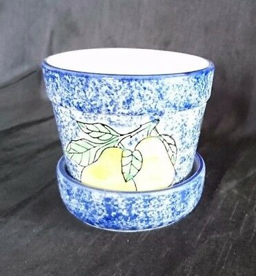 *RETRO Vintage HAND PAINTED 'ORANGES AND LEMONS' Ceramic PLANT POT & DISH*