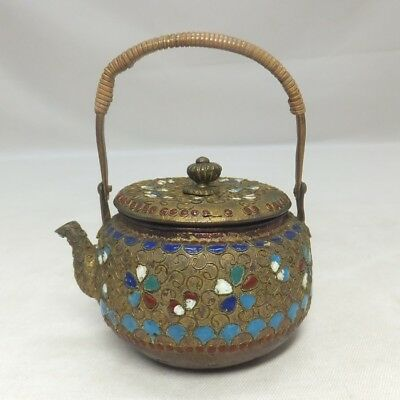 A308: Chinese enameling-on-copper ware teapot for green tea SENCHA