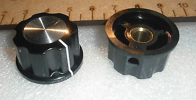 2x Silver center black fluted set screw fixing amp amplifier control knob brass