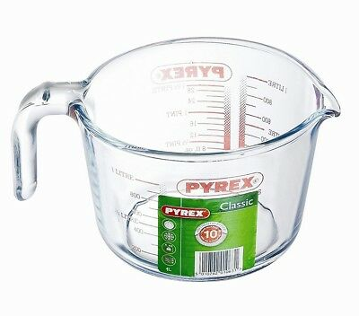 Pyrex Glass Measuring Jug 1L Borosilicate Glass Kitchen Measure Liquids Pyrex