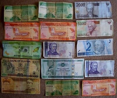 15 old used assorted world banknotes