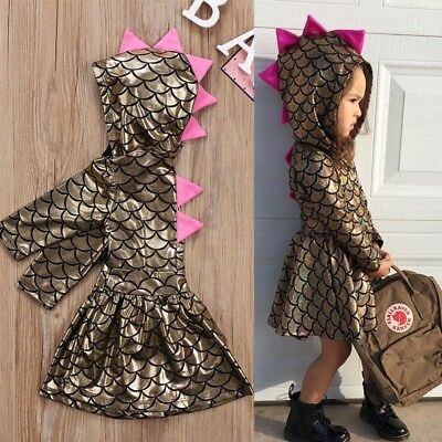 Christmas Toddler Baby Girls Kids Hooded Dinosaur Dress Cosplay Clothes Outfits