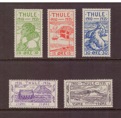 Greenland Local Thule 1935 Local motive Landscape set mint MNH stamps
