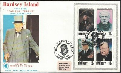1980, Bardsey Island, Famous People Miniature Sheet, First Day Cover