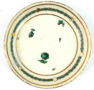 C1770 CHELSEA DERBY PORCELAIN SAUCER GREEN & GILT FLOWERS WREATHES i