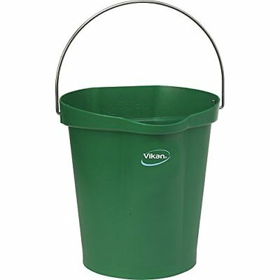Vikan 56862 Plastic Round Heavy Duty Pail with Stainless Steel Handle, 3 gal,