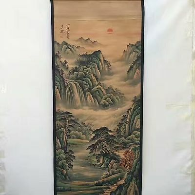 Collectible Old Decorated superb Chinese long Scroll Painting autumn landscape