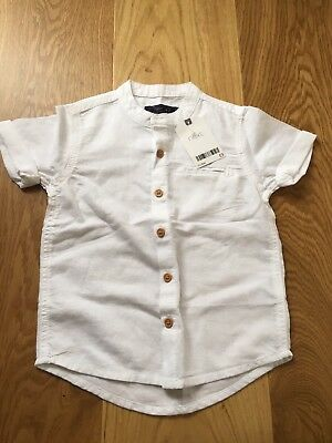 Next Baby Boy White Shirt Grandad Collar 18-24 Months Linen BNWT
