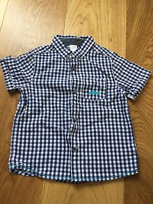 Boots Baby Boy Check Blue Short Sleeve Shirt 18-24 Months