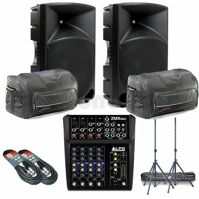 Mackie Thump 15 PA System inc. Mixer, Stands, Bags, and XLRs