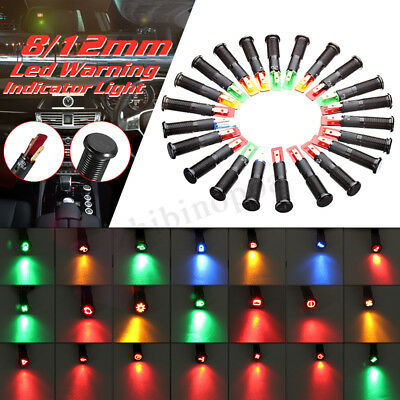 12V 24V Metal 8mm LED Dash Panel Warning Pilot Light Bulb Indicator Car Boat Van