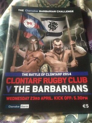 Clontarf v the Barbarians rugby match programme April 2014