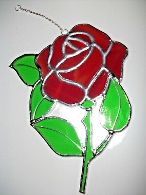 Stained Glass handmade single red rose Sun-catcher