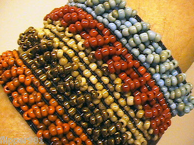 Multi Beaded Bracelet Hand crafted Hippie Jewelry Look
