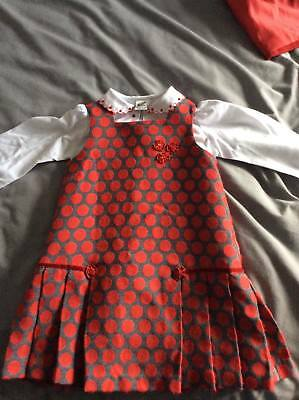 Gorgeous Girls Designer Saral Louise Blouse Pinafore Christmas Stunning