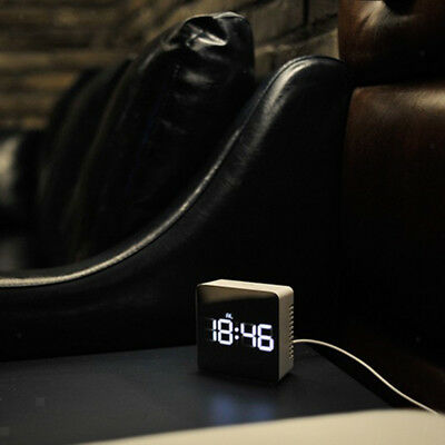 LED Desk Alarm Clock - Time Snooze Mirror Temperature Night Mode - Square