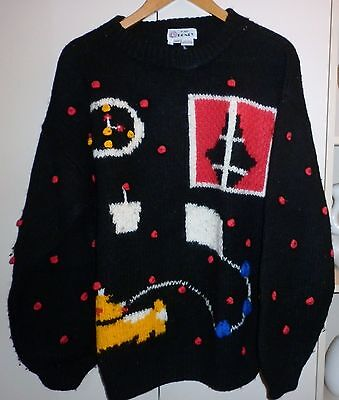 1980s HAND KNIT CRAZY WOOL JUMPER SIZE L EXCELLENT CONDITION