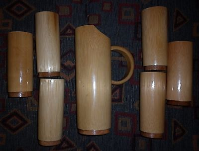 1950s AUSTRALIAN BAMBOO 7  PIECE WATER SET MINT CONDITION