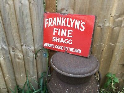 Antique Original FRANKLYN'S FINE SHAGG double sided enamel advertising sign 👍👍