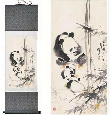Vintage Chinese painting scroll of Pandas in a bamboo ...