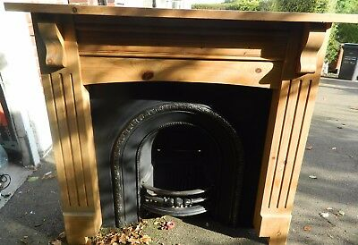 Victorian Style Wood and Cast Iron Fireplace