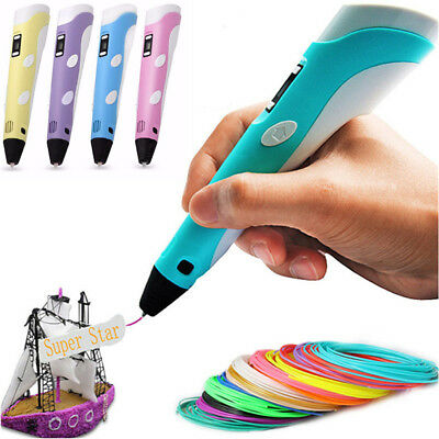 3D Printing Pen Modeling Stereoscopic Drawing Arts Crafts + 3 Free Filaments