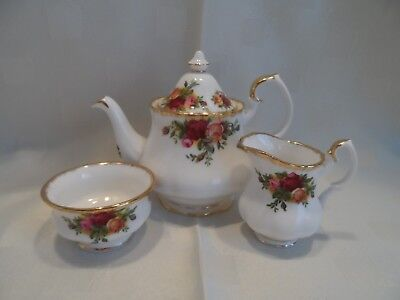Royal Albert, Old Country Roses Miniature Teapot, Cream & Sugar Bowl.
