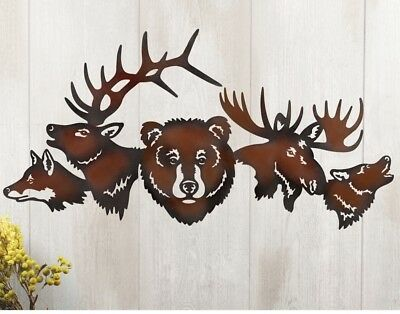 Rustic Animal Wall Art Metal Forest Woodland Cabin Lodge Lake House Decoration