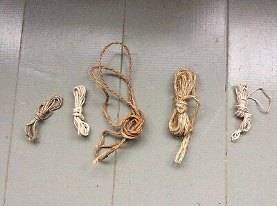 "5x Quirky Bundles Vintage Old String Cord Twine ""Make Do And Mend"" Art Craft"