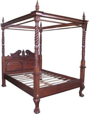"4' 6"" DOUBLE Four Poster Canopy Bed Solid Mahogany Victorian Antique Repro"
