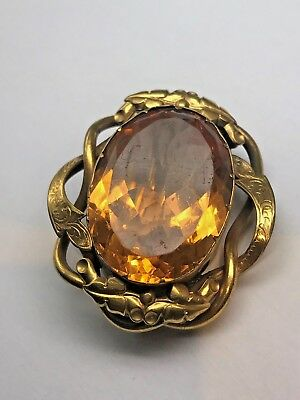 Victorian Citrine Pinchbeck Rope Edge Engraved Brooch Large Stone