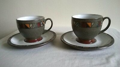 Denby Marrakesh two tea cups and saucers