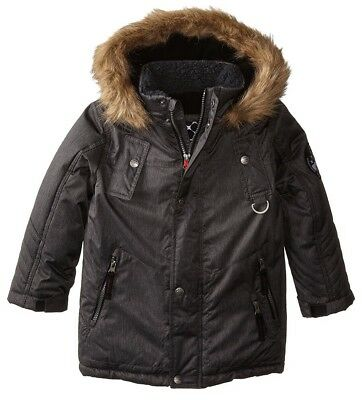 Big Chill Boys Expedition Parka Faux Fur Size 6 NWT Black Winter Coat Jacket